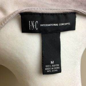 INC International Concepts Tops - INC Top Brown and White Jeweled Cowl Neck M